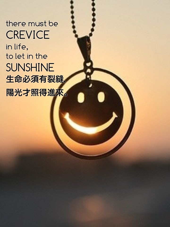 there must be crevice in life, to let in the sunshine 生命必須有裂縫, 陽光才照得進來。