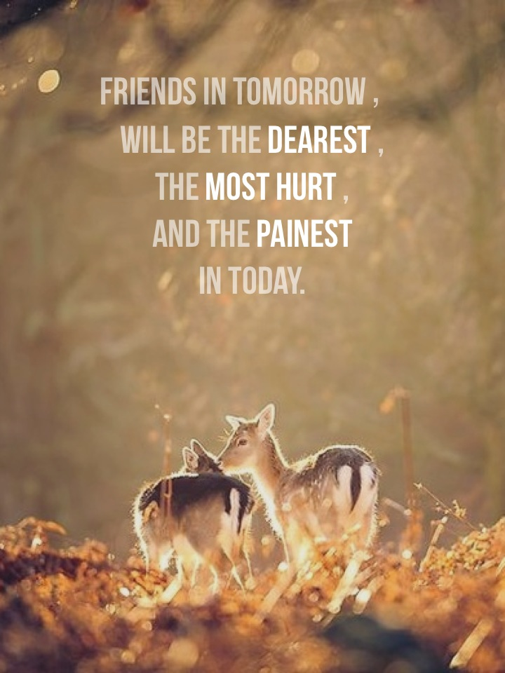 Friends in tomorrow, will be the dearest , the most hurt , and the painest in today.