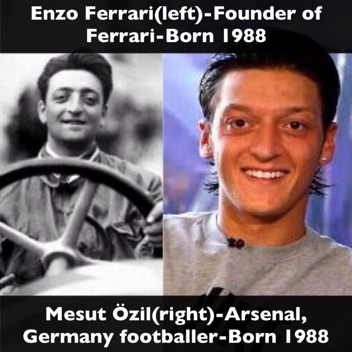 Enzo Ferrari(left)-Founder of Ferrari-Born 1988 Mesut Özil(right ...