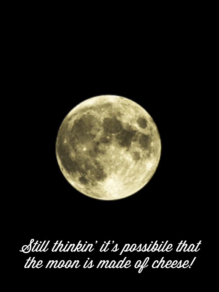 Still thinkin' it's possibile that the moon is made of cheese!
