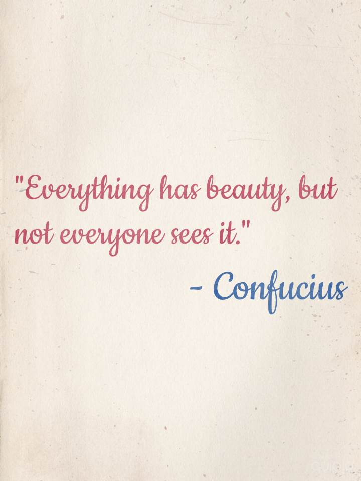 """Everything has beauty, but not everyone sees it."" - Confucius"