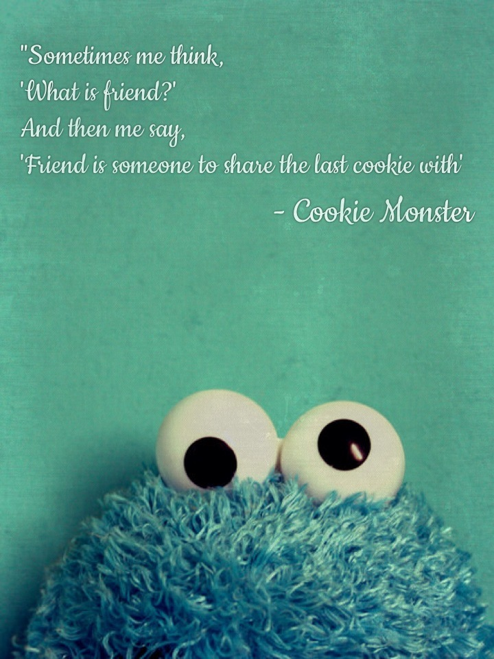 """Sometimes me think, 'What is friend?' And then me say, 'Friend is someone to share the last cookie with' - Cookie Monster"