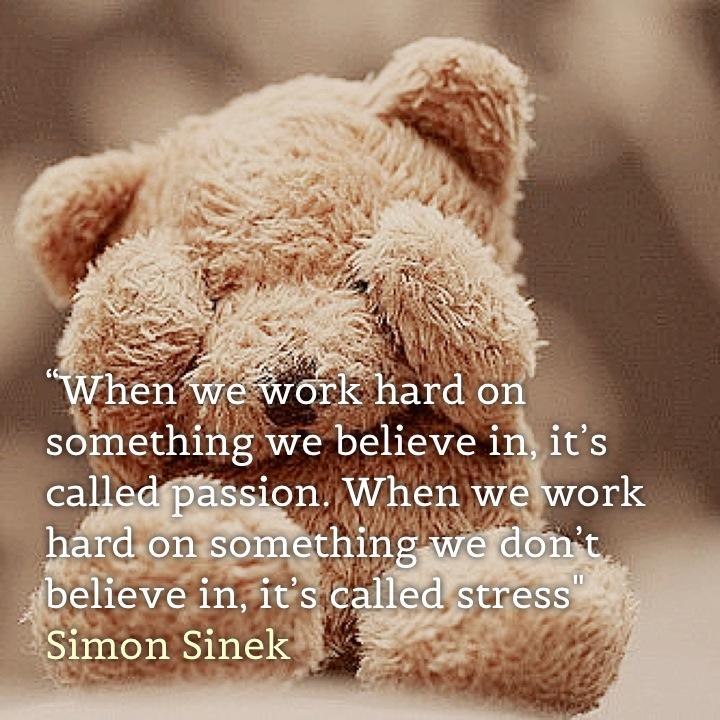 """When we work hard on something we believe in, it's called passion. When we work hard on something we don't believe in, it's called stress"" Simon Sinek"