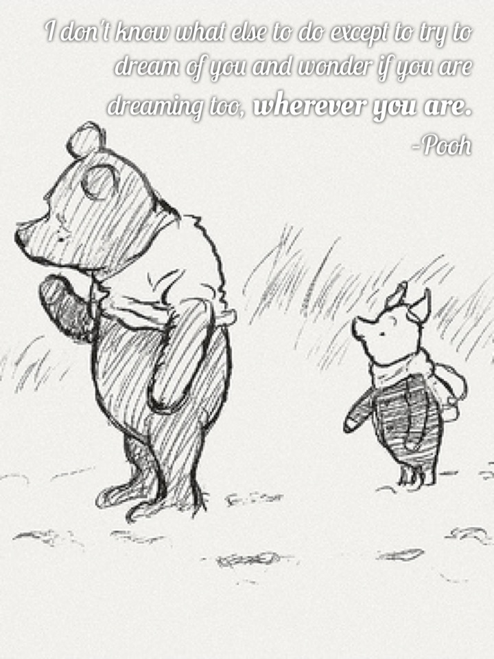 I don't know what else to do except to try to dream of you and wonder if you are dreaming too, wherever you are. –Pooh