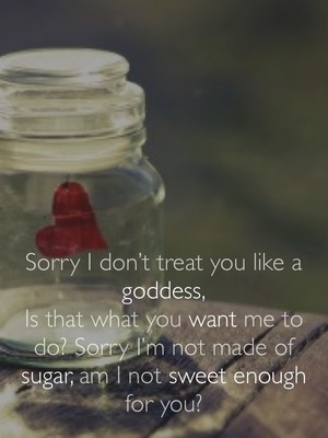 Sorry I don't treat you like a goddess, Is that what you want me to do? Sorry I'm not made of sugar, am I not sweet enough for you?