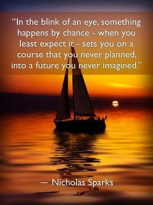 """""""In the blink of an eye, something happens by chance - when you least expect it - sets you on a course that you never planned, into a future you never imagined."""" ― Nicholas Sparks"""