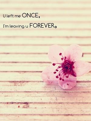 U left me once, I'm leaving u forever。
