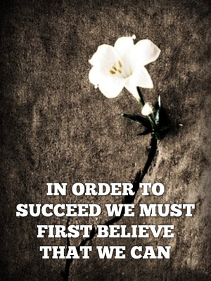 IN ORDER TO SUCCEED WE MUST FIRST BELIEVE THAT WE CAN