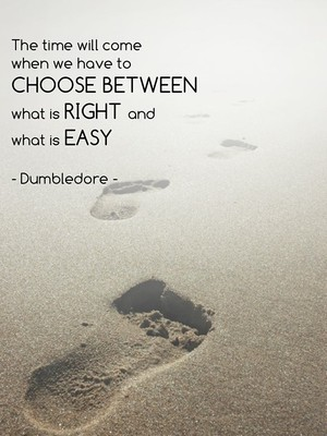 The time will come when we have to choose between what is right and what is easy - Dumbledore -