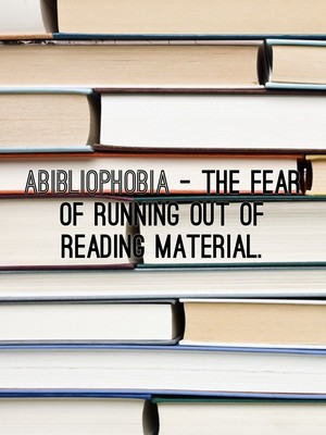 Abibliophobia - The fear of running out of reading material.