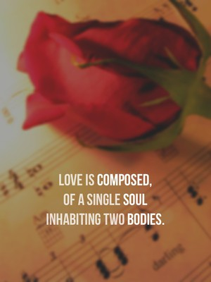 Love is COMPOSED, of a single SOUL Inhabiting two BODIES.