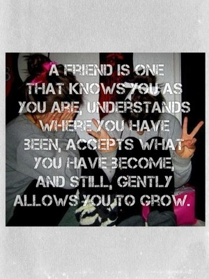 A friend is one that knows you as you are, understands where you have been, accepts what you have become, and still, gently allows you to grow.