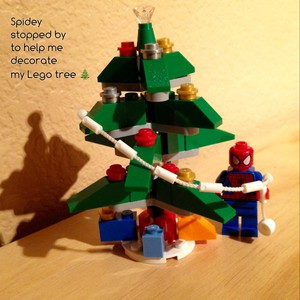 Spidey stopped by to help me decorate my Lego tree 🎄