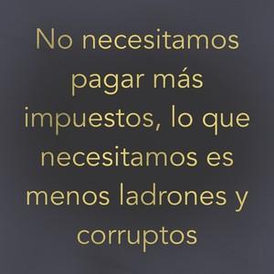 No necesitamos pagar más impuestos, lo que necesitamos es menos ladrones y corruptos