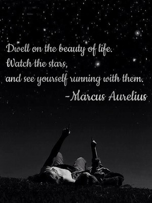 Dwell on the beauty of life. Watch the stars, and see yourself running with them. -Marcus Aurelius