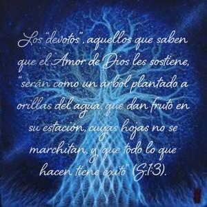 """Los """"devotos"""", aquellos que saben que el Amor de Dios les sostiene, """"serán como un árbol plantado a orillas del agua, que dan fruto en su estación, cuyas hojas no se marchitan, y que todo lo que hacen tiene éxito"""" (S.1:3)."""