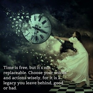 Time is free, but it's not replaceable. Choose your words and actions wisely, for it is a legacy you leave behind, good or bad.
