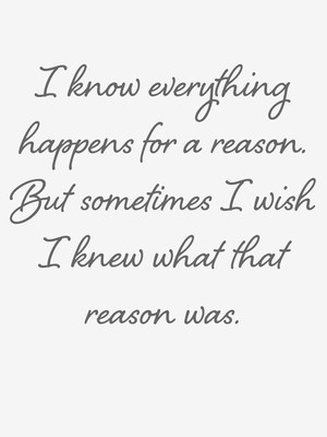 I know everything happens for a reason. But sometimes I wish I knew what that reason was.