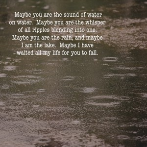 Maybe you are the sound of water on water. Maybe you are the whisper of all ripples blending into one. Maybe you are the rain, and maybe I am the lake. Maybe I have waited all my life for you to fall.