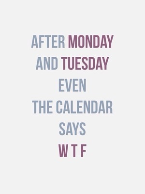 After MONDAY And TUESDAY even the calendar says W T F