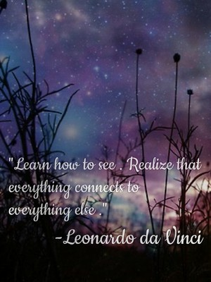 """Learn how to see . Realize that everything connects to everything else .""-Leonardo da Vinci"