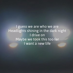 I guess we are who we are Headlights shining in the dark night I drive on Maybe we took this too far I want a new life