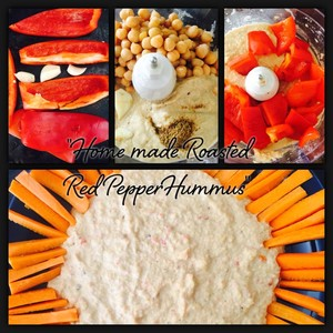 """Home made Roasted Red PepperHummus"""
