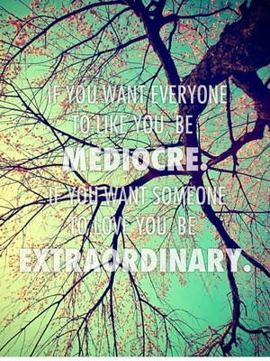 If you want everyone to like you, be mediocre. If you want someone to love you, be extraordinary.