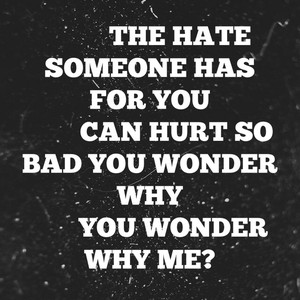 The hate someone has for you can hurt so bad you wonder why you wonder why me?