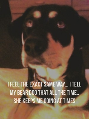 I feel the exact same way... I tell my bear dog that all the time.. She keeps me going at times