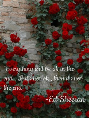 """Everything will be ok in the end . If it's not ok , then it's not the end "" -Ed Sheeran"