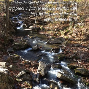 """""""May the God of hope fill you with all joy and peace in faith so that you overflow with hope by the power of the Holy Spirit.""""Romans 15:13"""