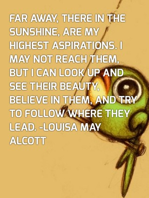 Far away, there in the sunshine, are my highest aspirations. I may not reach them, but I can look up and see their beauty, believe in them, and try to follow where they lead. -Louisa May Alcott