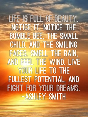 Life is full of beauty. Notice it. Notice the bumble bee, the small child, and the smiling faces. Smell the rain, and feel the wind. Live your life to the fullest potential, and fight for your dreams. -Ashley Smith