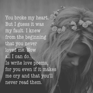 You broke my heart. But I guess it was my fault. I knew from the beginning that you never loved me. Now all I can do... Is write love poems, for you even if it makes me cry and that you'll never read them.