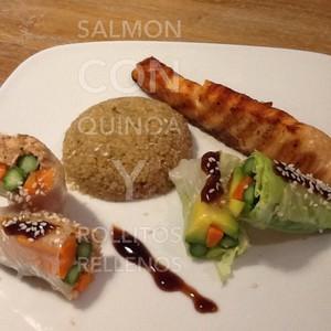Salmon con quinoa y rollitos rellenos