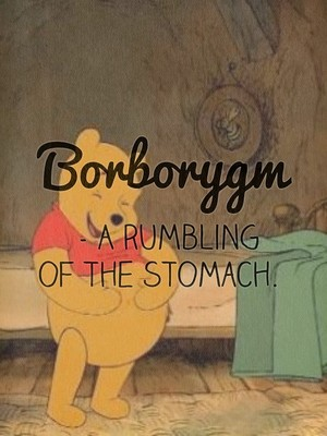 Borborygm - A rumbling of the stomach.