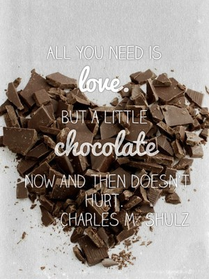 All you need is love. But a little chocolate now and then doesn't hurt. -Charles M. Shulz