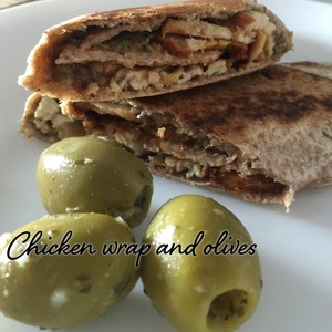 Chicken wrap and olives