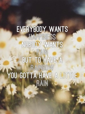 Everybody wants Happiness Nobody wants Pain But to have a Rainbow You gotta have a little Rain