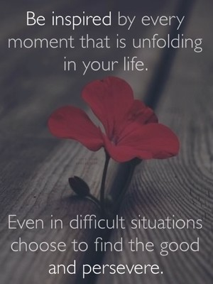 Be inspired by every moment that is unfolding in your life. Even in difficult situations choose to find the good and persevere.