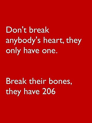 Don't break anybody's heart, they only have one. Break their bones, they have 206