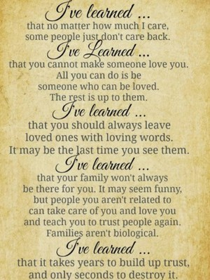 I've learned ...