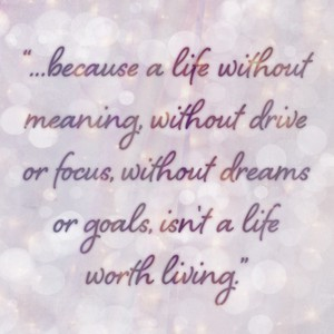 """...because a life without meaning, without drive or focus, without dreams or goals, isn't a life worth living."""