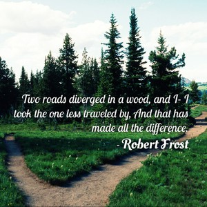 Two roads diverged in a wood, and I- I took the one less traveled by, And that has made all the difference. - Robert Frost