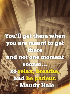 You'll get there when you are meant to get there and not one moment sooner… so relax, breathe, and be patient. - Mandy Hale