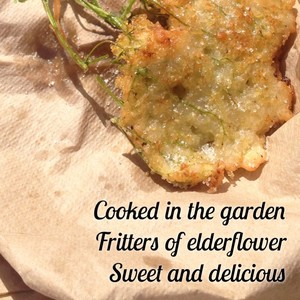Cooked in the garden Fritters of elderflower Sweet and delicious