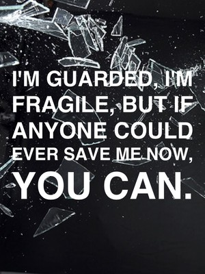 I'm guarded, I'm fragile, but if anyone could ever save me now, you can.