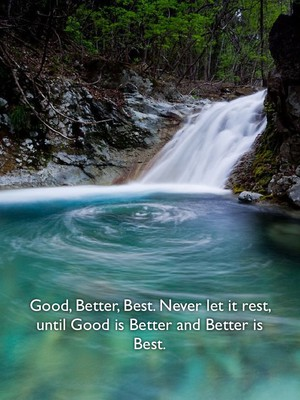 Good, Better, Best. Never let it rest, until Good is Better and Better is Best.