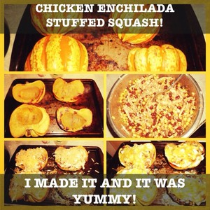Chicken enchilada stuffed squash! I made it and it was yummy!